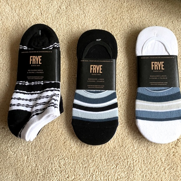 NWT Frye 3 pair. 6 sock liners 3 no show pairs